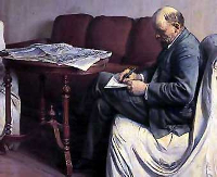 Lenin escribiendo, óleo de Brodski.