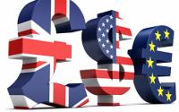 Símbols de la lliura esterlina, dòlar estatunidenc i euro.