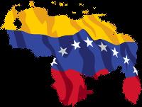 Venezuela. Bandera dentro del mapa.